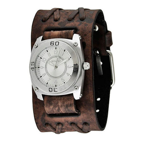 Silver Mix & Match Men's Watch with Faded Brown Wide Double X Leather Cuff Band BVDXB012S