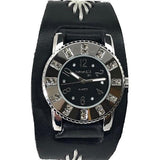 BF311K Nemesis ladies trendy look crystal watch with Black leather cuff band