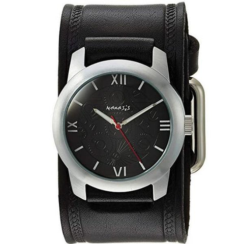 HST068K Black Elite Watch with Black Embossed Leather Cuff Band