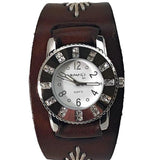 BBF311W Nemesis ladies trendy look crystal watch with Brown leather cuff band