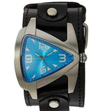 LBB011L Nemesis stainless steel triangle teardrop watch with vintage wide leather cuff band