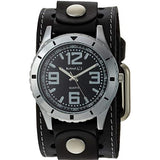 Black Sporty Racing Watch with Black Single Stitched Leather Cuff Band STH096K