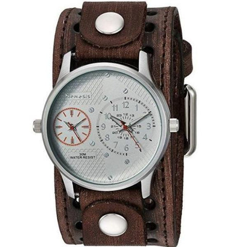 Silver/Orange Dual Time RD with Faded Brown X Leather Cuff Band BVSTH219S
