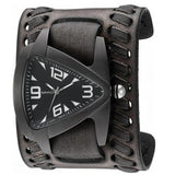 Nemesis 'IP Oversize Teardrop' Ion-Plated Men's Watch with Black Vintage Wide Leather Weaved Cuff Band VDBK061K
