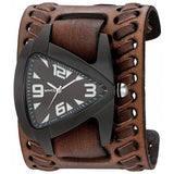 Nemesis 'IP Oversize Teardrop' Ion-Plated Men's Watch with Black Vintage Wide Leather Weaved Cuff Band VBDK061K