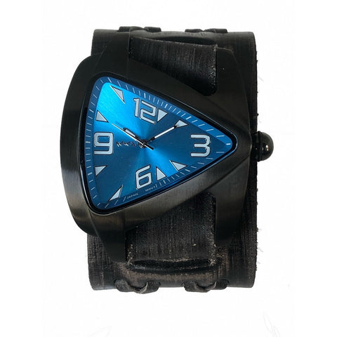VDX061L Nemesis stainless steel IP black teardrop watch with Vintage charcoat boule x leather cuff band