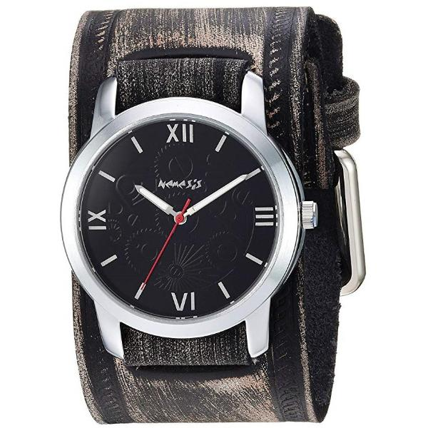 VHST068K Black Elite Watch with Faded Black  Vintage Leather Cuff Band