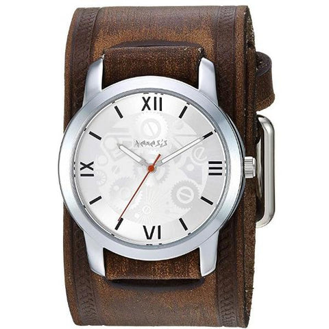 Silver Elite Watch with Faded Embossed  Leather Cuff Band VBHST068S