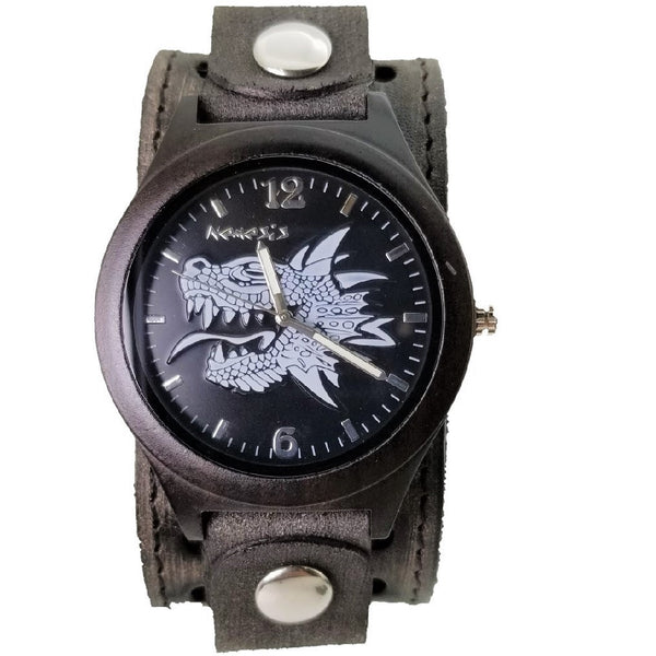 Nemesis 'Jaden' Dragon Wood case watch with Vintage leather cuff band VSTH267K