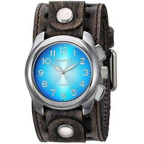 Blue Oval Gradient Watch with Faded Black Leather Cuff Band VST091L