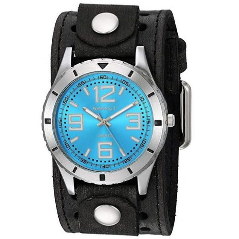VSTH096L Sporty Racing Watch with Black Vintage Leather Cuff Band