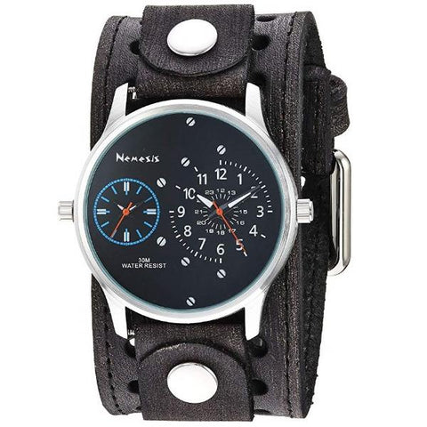 VSTH219KL Black/Blue Dual Time RD with Faded Leather Cuff Band
