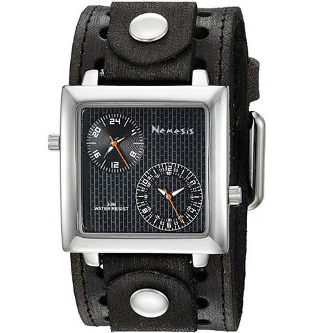 VSTH221KK Black Dual Time SQ with Vintage  Leather Cuff Band