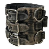 FWB529L Nemesis 5 ATM stainless Steel Black Vintage 3SRIPS leather cuff band