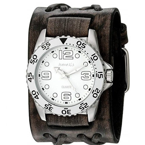 VDXB097W Black Groovy Men's Watch with Wide Faded Black Double X Leather Cuff Band