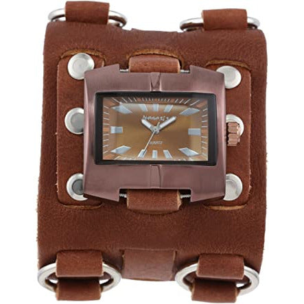 Brown Racing Sport Unisex Watch with Brown Wide Detail Leather Cuff Band BWB060B