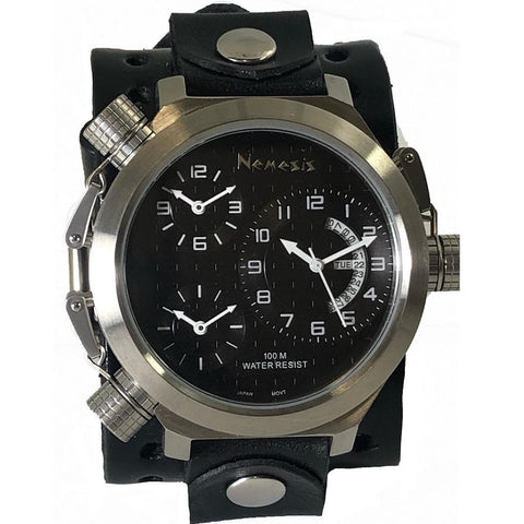 WLB080K Nemesis 3 zone stainless steel watch with 2 inches wide leather cuff band