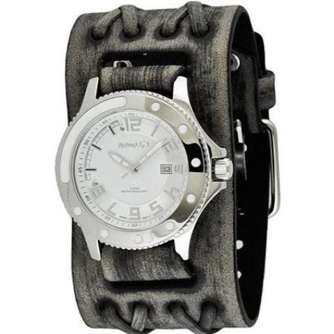 White/Silver Men's Sporty Watch with Faded Black Double X Wide Leather Cuff Band VDXB105S
