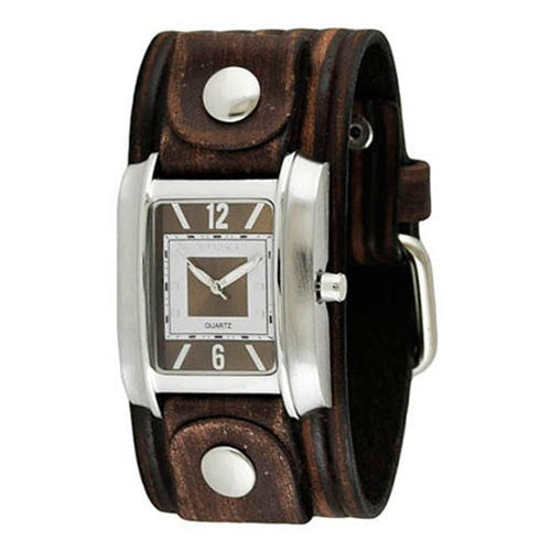 Vintage Brown White Square in Square Ladies Watch with Brown Vintage Embossed Stripes Leather Cuff Band BVEB013B
