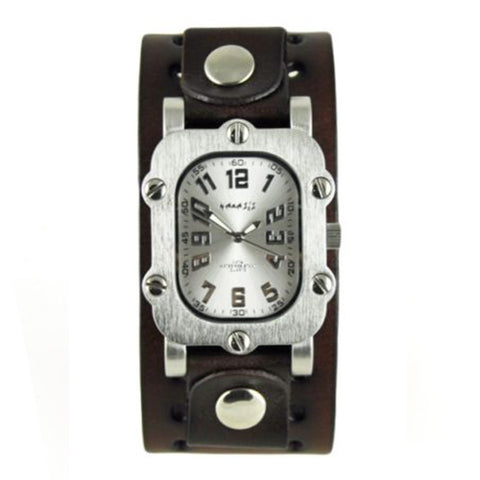 Silver Rugged Watch with Dark Brown Basic Leather Cuff Band DBN007S