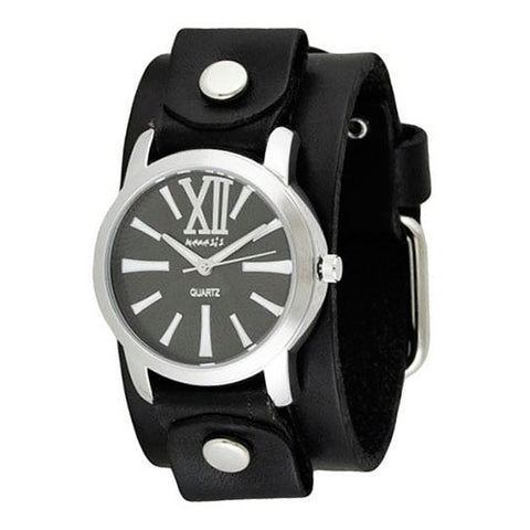 BlackWhite Roman Ladies Watch with Junior Size Black Leather Cuff Band GB065KW