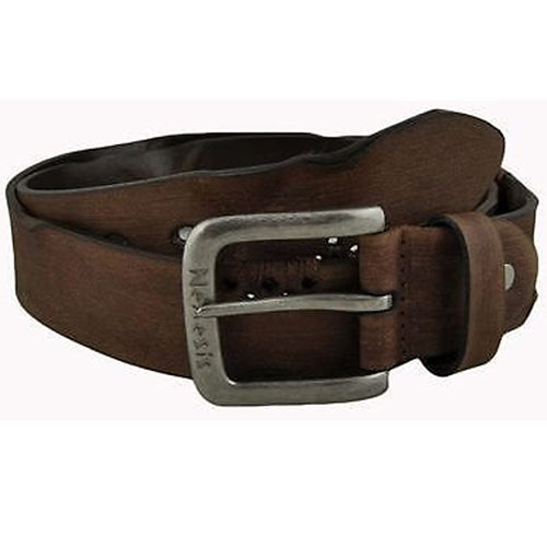 Nemesis Faded Brown Pressed X Distressed Leather Belt Size 32-38 Vintage Style