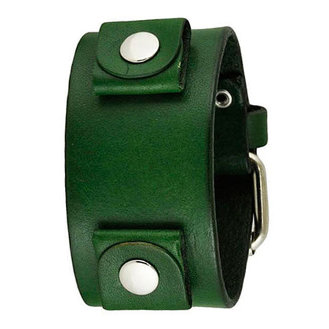 Basic Junior Size Green Leather Cuff Watch Band 20mm GGB