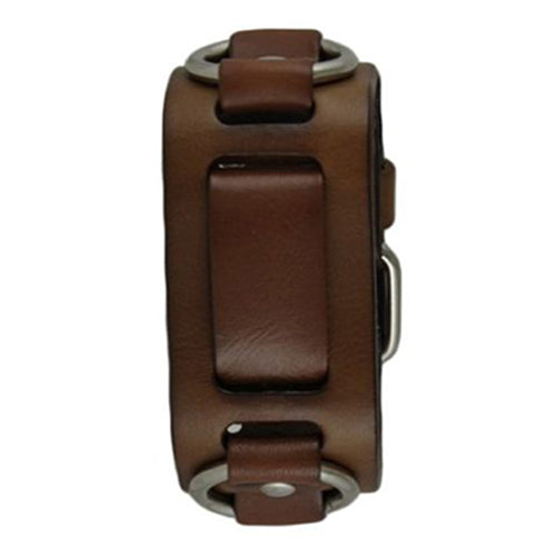 Brown Leather Ring Cuff Watch Band BRB