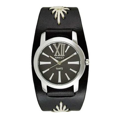 Black White Roman Ladies Watch with Junior Size Black Diamond Stitched Leather Cuff Band BF065KW