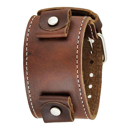 Brown XL Stitch Leather Cuff Watch Band 24mm BLBB