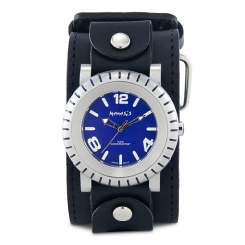 Blue Wheelmen Watch with Black XL Stitch Leather Cuff Band LBB079L