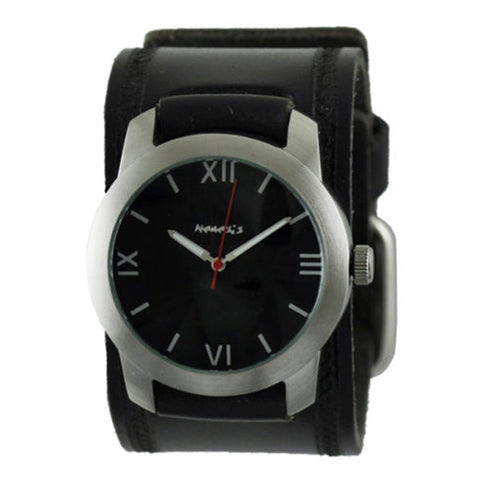 Black Elite Watch with Black Embossed Leather Cuff Band HST068K