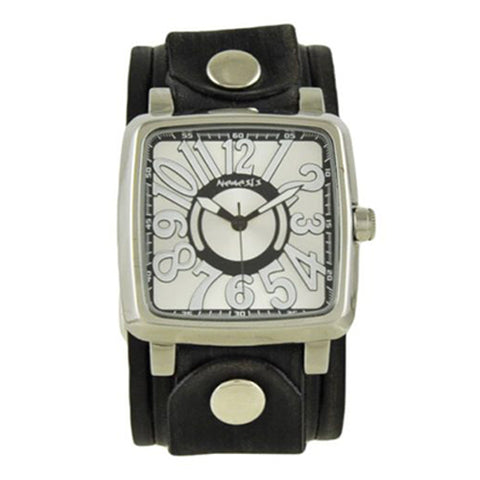 Silver White 3D Squared Watch with Black Vintage Embossed Stripes Leather Cuff Band VEB218S