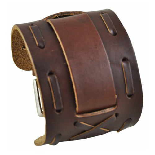 Brown Wide X Leather Cuff Band BWXB