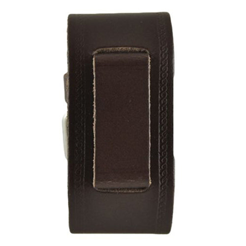 Dark Brown Medium Embossed Leather Watch Cuff Band DBHST