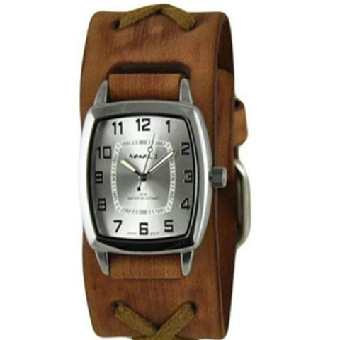 Silver Classic Vintage Watch with Brown X Leather Cuff Band BFXB017S