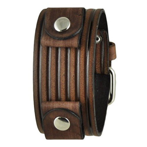 Brown Vintage Embossed Stripes Leather Cuff Band BVEB