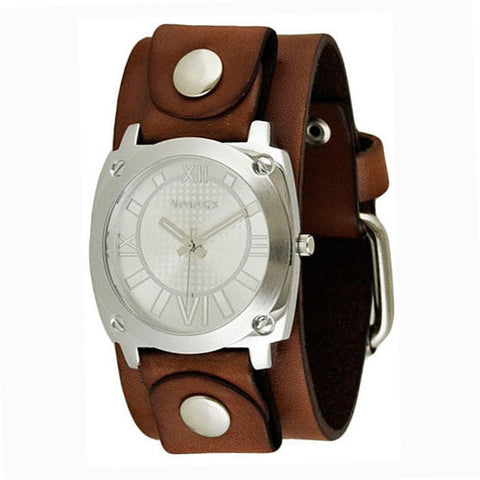 Silver Ladies Roman Numerals Watch with Junior Size Brown Leather Cuff Band BGB066S