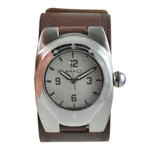 Silver Alien Watch with Brown Embossed Leather Cuff Band BHST015S