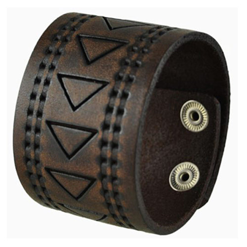 Brown Hole Punched and Triangle Embossed Leather Cuff Snap On Bracelet 509B