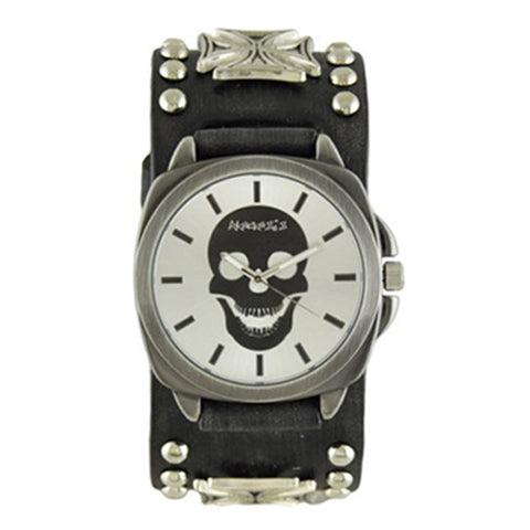 Silver Skull Head Watch with Faded Black Iron Cross Studded Leather Cuff Band FMIC935S