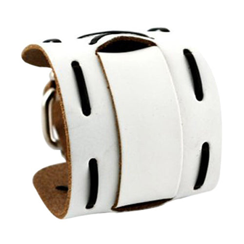 White with Black Wide X Leather Cuff Band WWXB