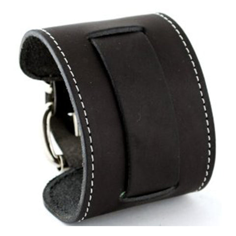 Black Wide Leather Cuff Band with White Stiching STWW