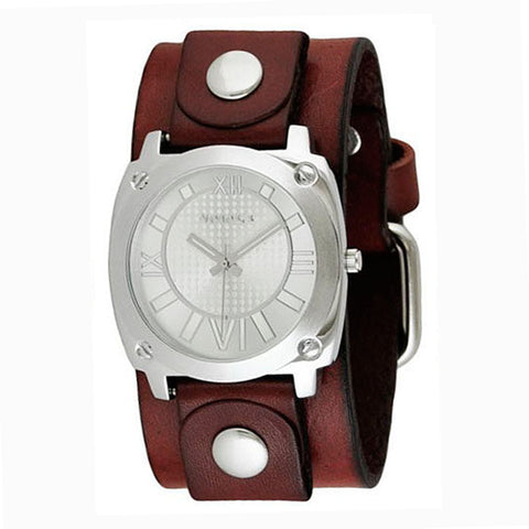 Silver Ladies Roman Numerals Watch with Junior Size Red Leather Cuff Band RGB066S