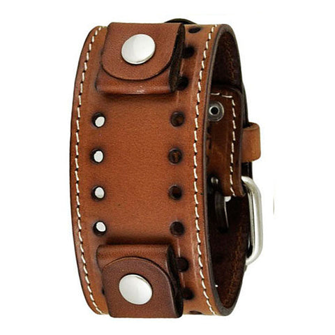 Brown Single Stitch Leather Watch Cuff Watch Band 20-22mm BSTH