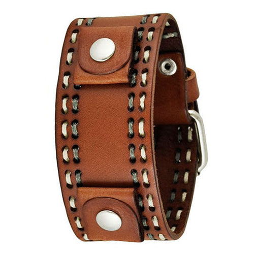 Brown Double Stitched Leather Cuff Watch Band 22mm DBDT-B