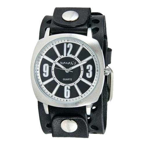 f.Black Comely Watch with Black Perforated Leather Cuff Band 110WPB
