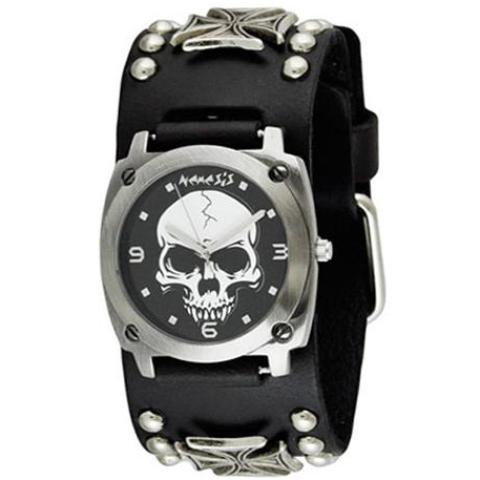 Black Heavy Duty Skull Watch with Black Studded Iron Cross Leather Cuff Band MIC926K