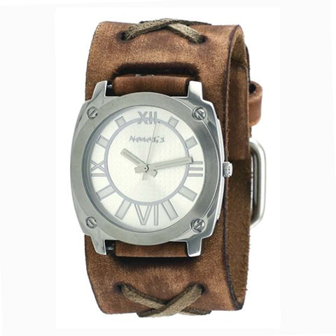 Silver Roman Numerals Watch with Faded Brown X Leather Cuff Band 066BFXB-S