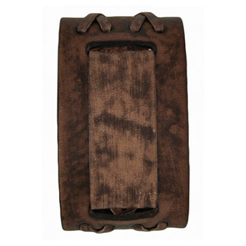 Faded Brown Double X Wide Leather Cuff Band BVDXB